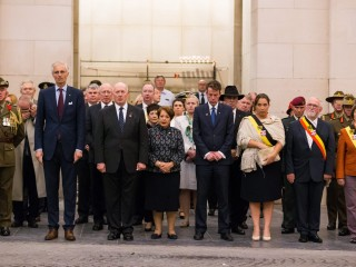 His Excellency General The Honourable David Hurley AC DSC Retd Governor of NSW and Mrs Linda Hurley with guests at the Last Post Ceremony at Menin Gate Belgium